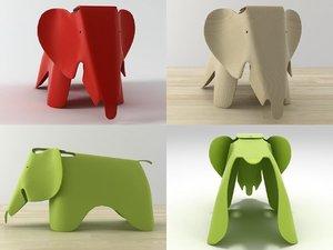3D eames plywood elephant model