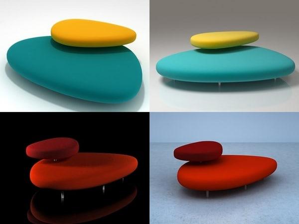 3D model pebbles cappellini