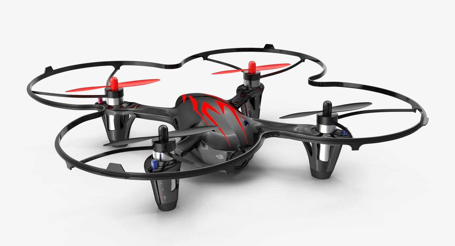 hubsan x4 h107c blackred 3D model