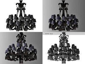 3D black zenith chandelier model