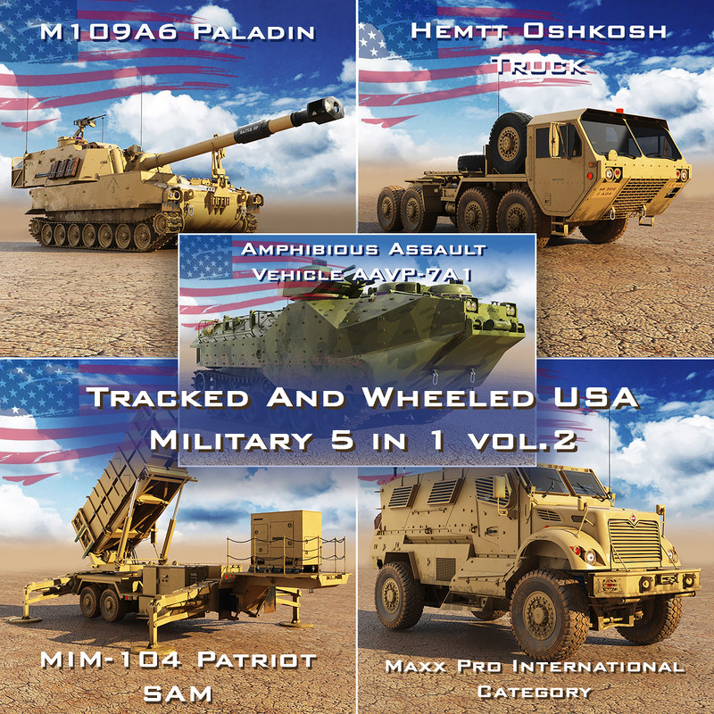 tracked wheeled usa military 3D model