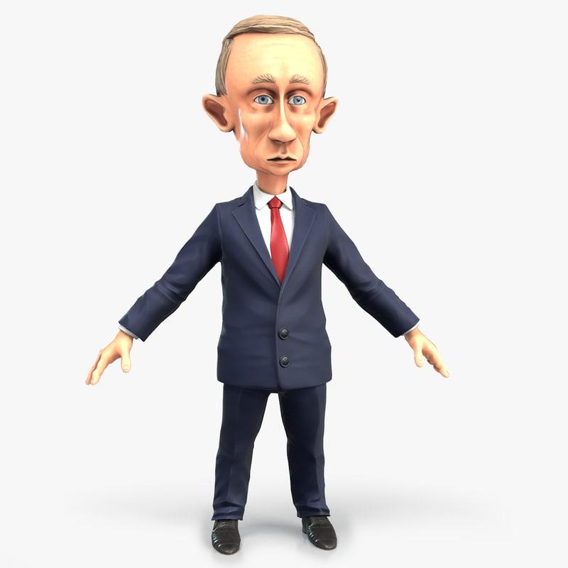 cartoon vladimir putin 3D model
