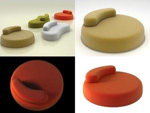 3D bubble rock sofa model