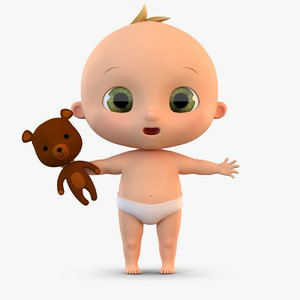 cute cartoon baby 3D model
