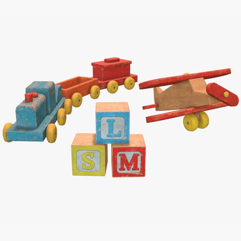 old wooden toys pack 3D model