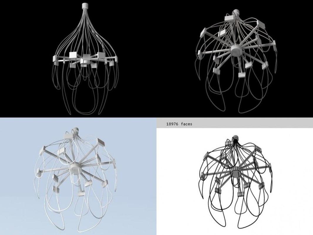 3D jellyfish chandelier prototype model