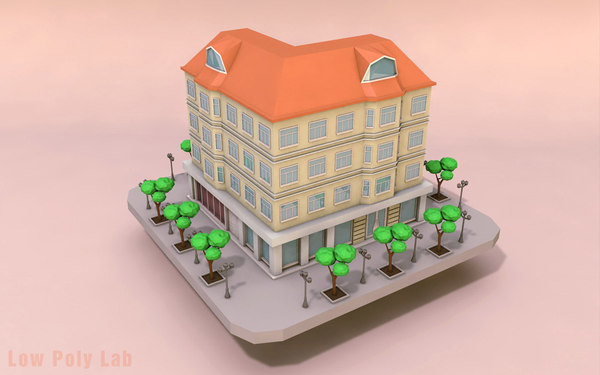 building cartoon city 3D model