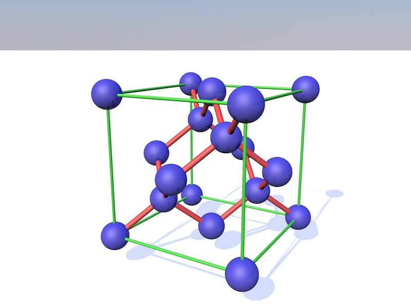 silicon crystal lattice 3D model