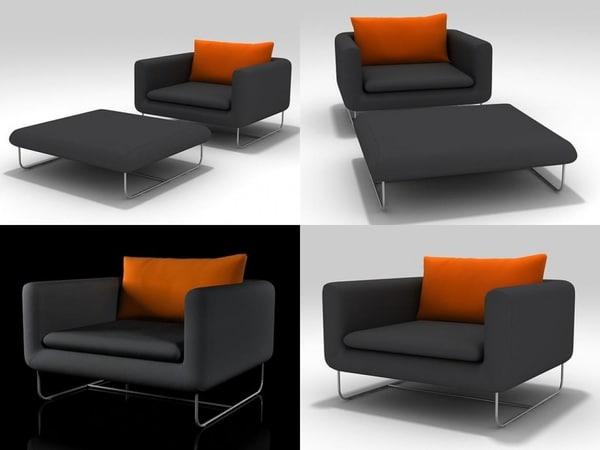 avalon armchair pouf 3D model