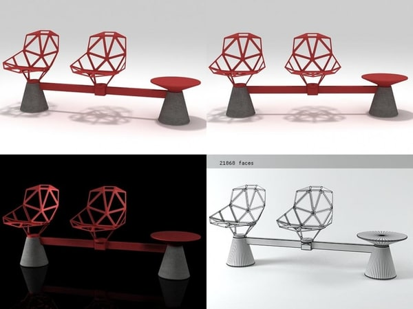 chair public seating 1 3D model