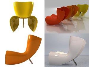 3D model felt chair cappellini