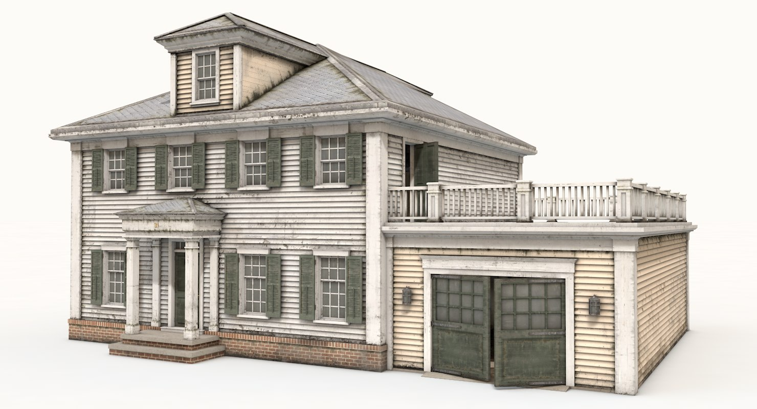 3d american house colonial style turbosquid 1183644 for Mobel kolonial style
