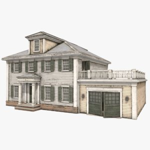 3D american house colonial style
