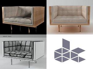 box armchair 3D model