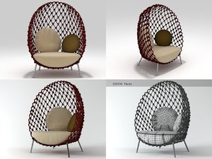 3D model dragnet lounge chair