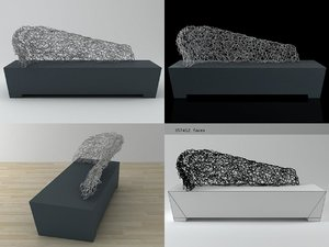 sculpture socle waiting sofa 3D