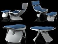 3D hvilestol med skammel model