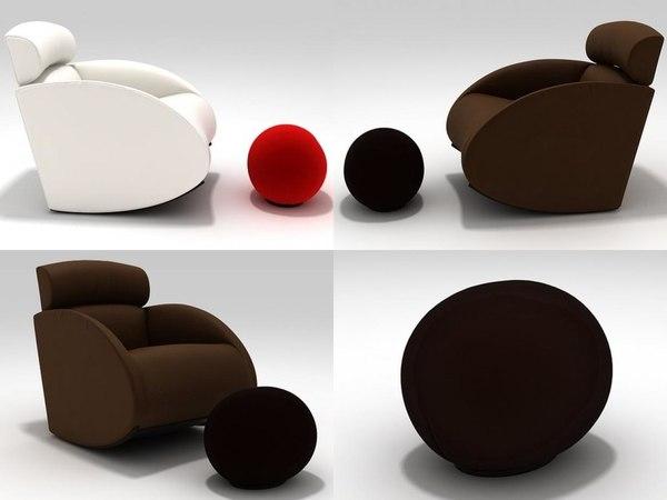 mama armchair tatino footstool 3D model