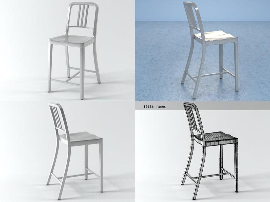3D model navy counter stool
