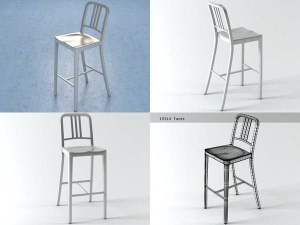 navy barstool 3D model