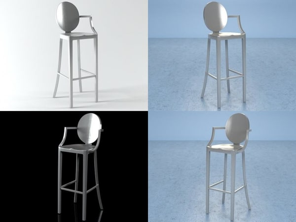 3D kong barstool arms model
