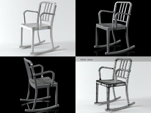 3D model heritage rocking armchair