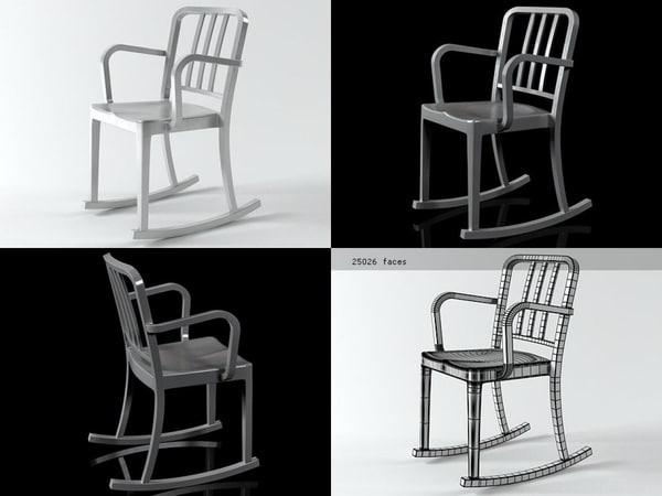 3D model heritage rocking armchair