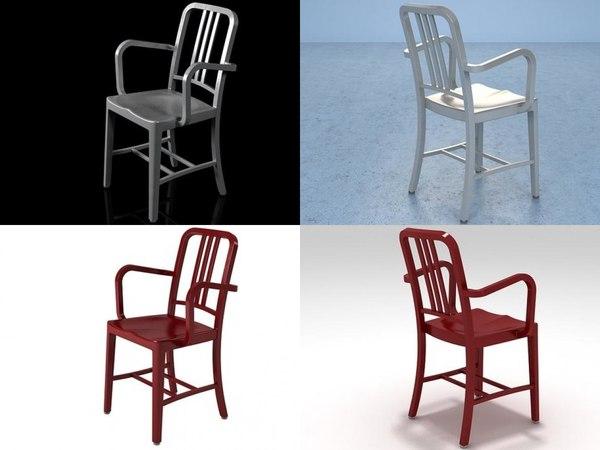 navy armchair 3D