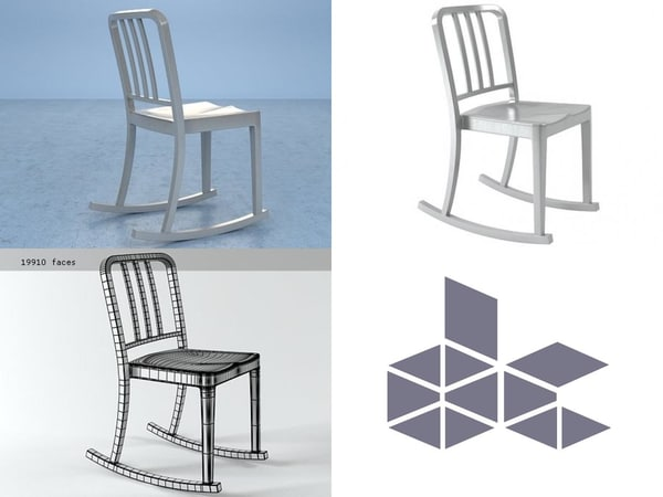 3D model heritage rocking chair