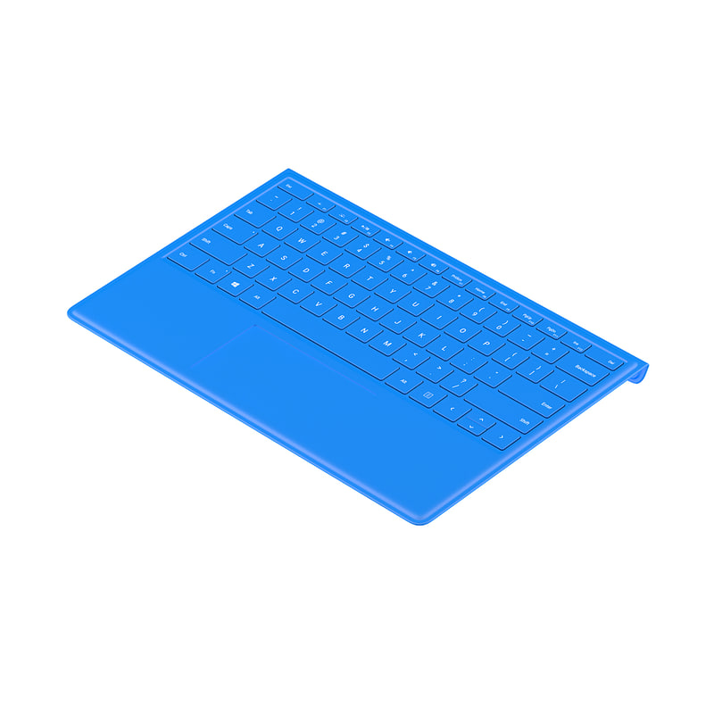 bent surface keyboard 3D