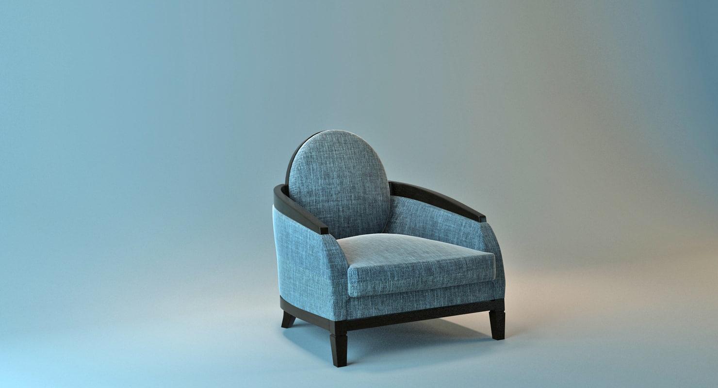 3D chair fabric wood model