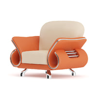 3D orange leather armchair