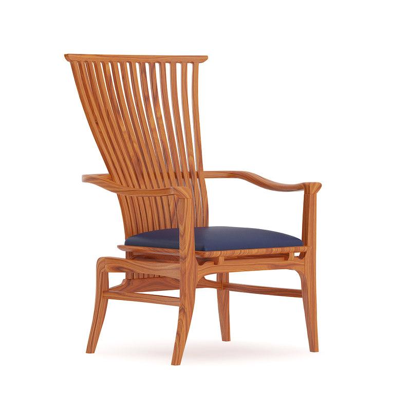 wooden chair blue seat 3D