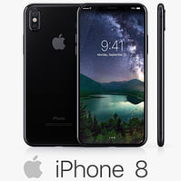3D model apple iphone 8 black