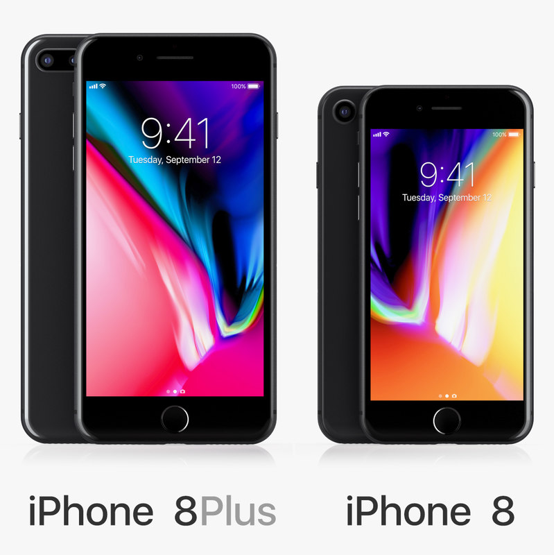 3D model apple iphone 8 black