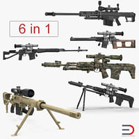 Sniper Rifles 3D Models Collection 2
