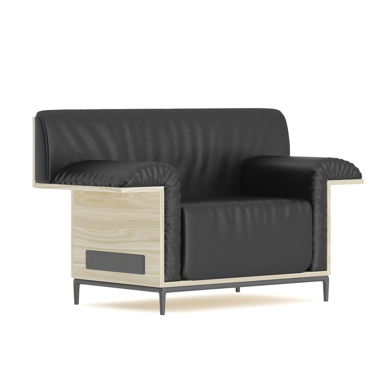 black leather armchair wooden 3D model