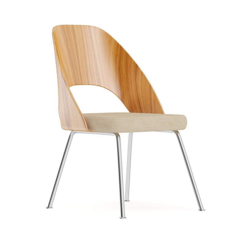 3D wooden chair metal fabric model