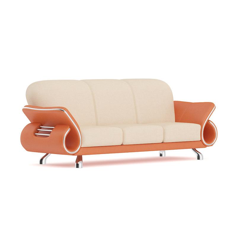 orange leather sofa 3D