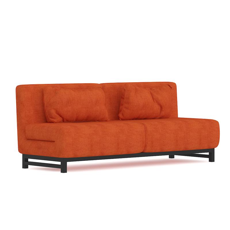 3D orange fabric sofa model