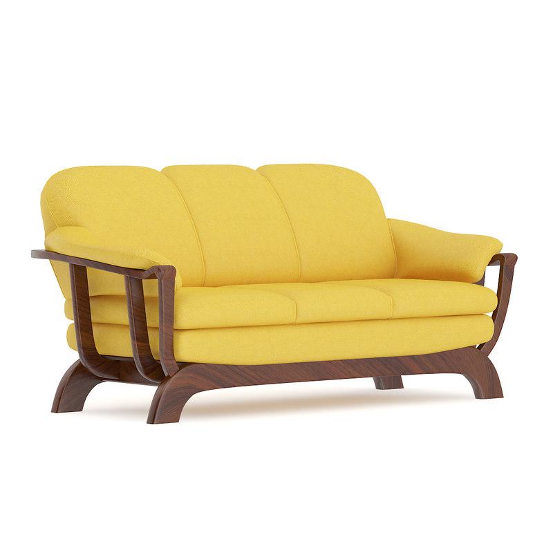 3D yellow sofa wooden frame