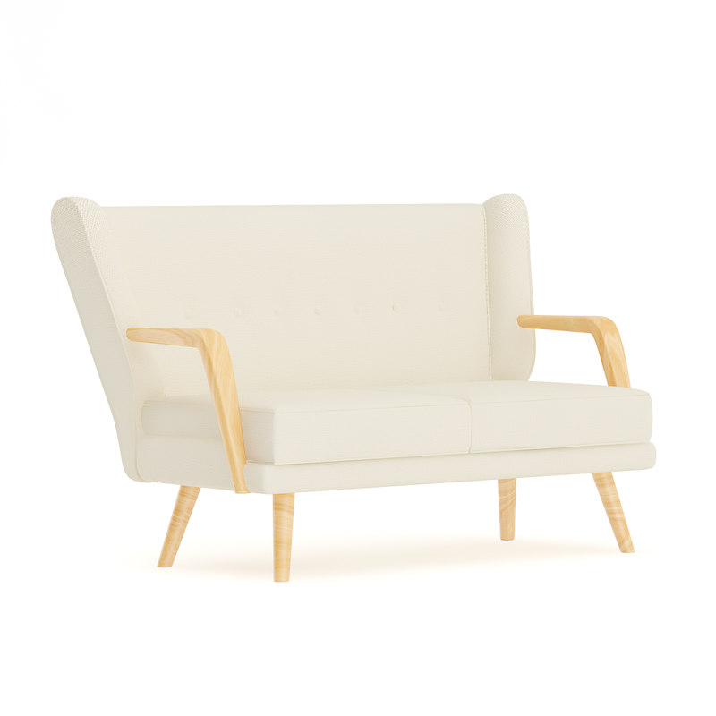 beige fabric sofa wooden model