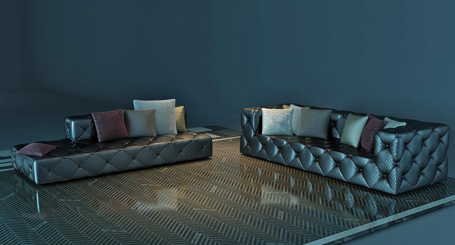 3D model capitone sofa