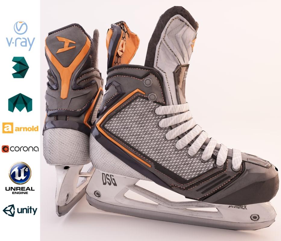 3D model skate ice hockey