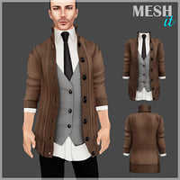 3D male sweater vest model