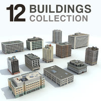 Buildings City - 12 Models Collection