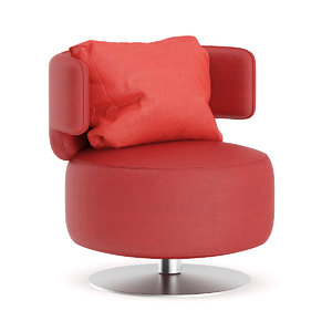 red leather swivel chair 3D