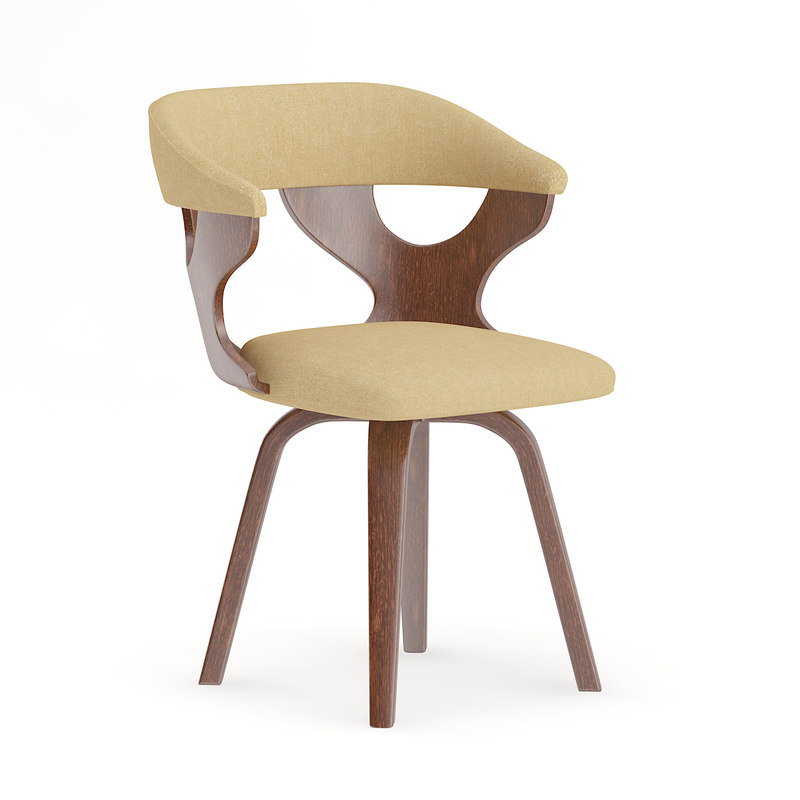 3D wooden chair fabric seat model