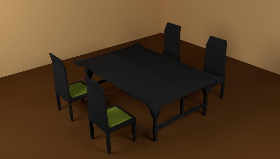 set dinner room chair table 3D model