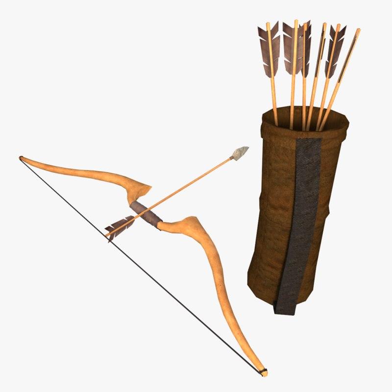 bow arrow quiver 3D model